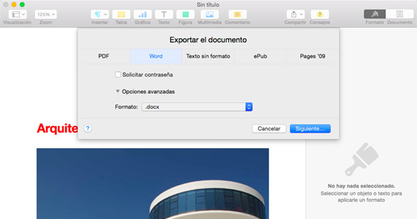Exportar de Pages a Word y guardar en disco